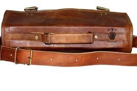 """15"""" Mens Satchel Brown Leather Messenger Bag Laptop Shoulder Crossbody Briefcase image 8"""
