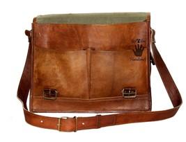 """15"""" Mens Satchel Brown Leather Messenger Bag Laptop Shoulder Crossbody Briefcase image 7"""