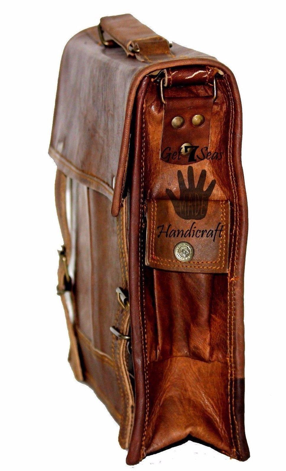 """15"""" Mens Satchel Brown Leather Messenger Bag Laptop Shoulder Crossbody Briefcase image 5"""