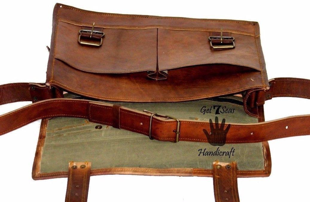 """15"""" Mens Satchel Brown Leather Messenger Bag Laptop Shoulder Crossbody Briefcase image 9"""