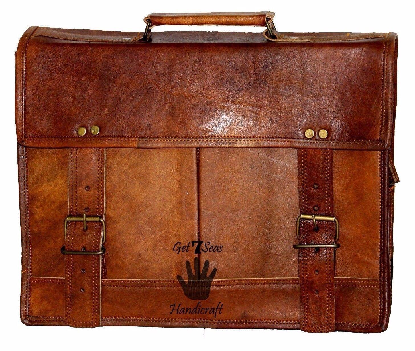 """15"""" Mens Satchel Brown Leather Messenger Bag Laptop Shoulder Crossbody Briefcase image 6"""