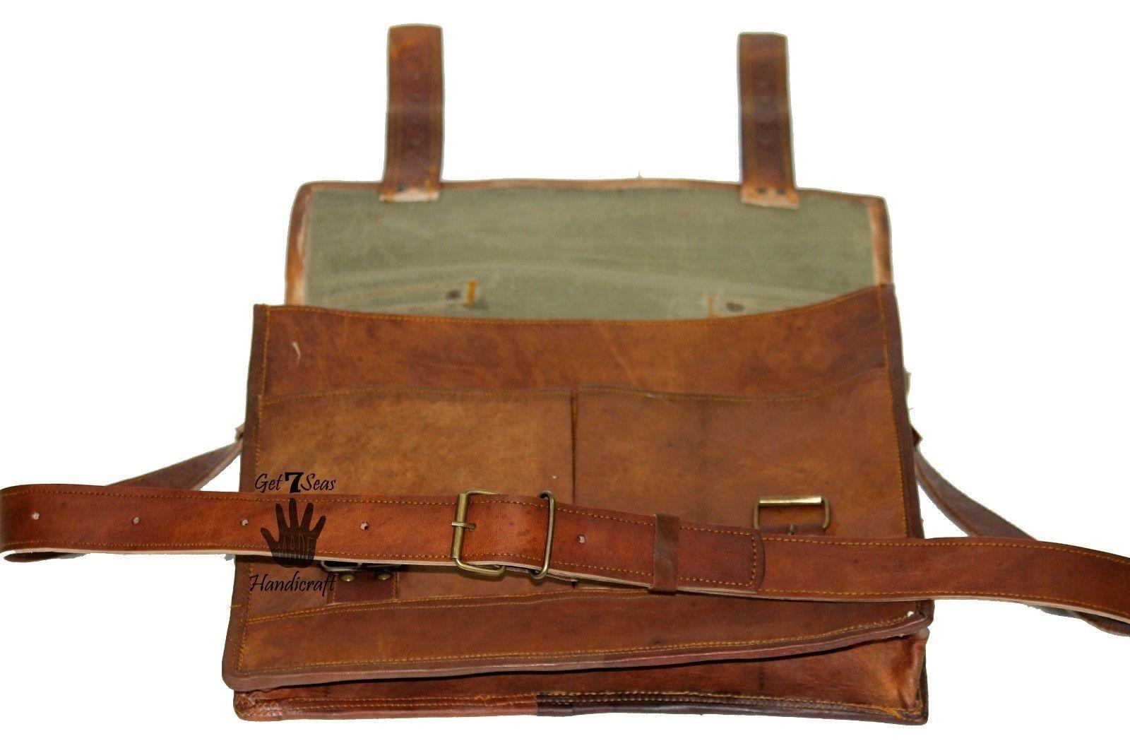 """15"""" Mens Satchel Brown Leather Messenger Bag Laptop Shoulder Crossbody Briefcase image 11"""