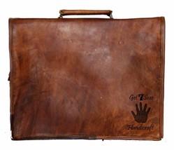 """15"""" Mens Satchel Brown Leather Messenger Bag Laptop Shoulder Crossbody Briefcase image 10"""
