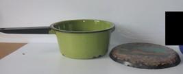 "Vintage Small 7"" Green Metal Sauce Pan & Trivet... - $14.85"