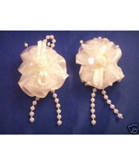 2 Satin Organza and pearls hair clip barrettes bows - $1.24