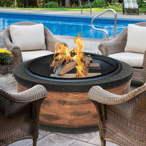 Wood Fire Pit Sun Joe Fire Joe Patio Deck 35-Inch Rustic Wood Cast Stone... - $224.95