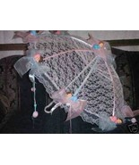 """32"""" White Lace baby shower umbrella with pink/blue baby - $27.71"""