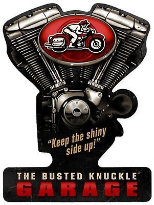 "The Busted Knuckle Garage Retro Decor Plasma Cut Metal Sign (21"" by 16"")"
