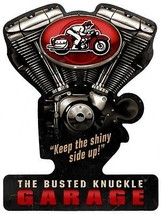 "The Busted Knuckle Garage Retro Decor Plasma Cut Metal Sign (21"" by 16"") - $40.00"