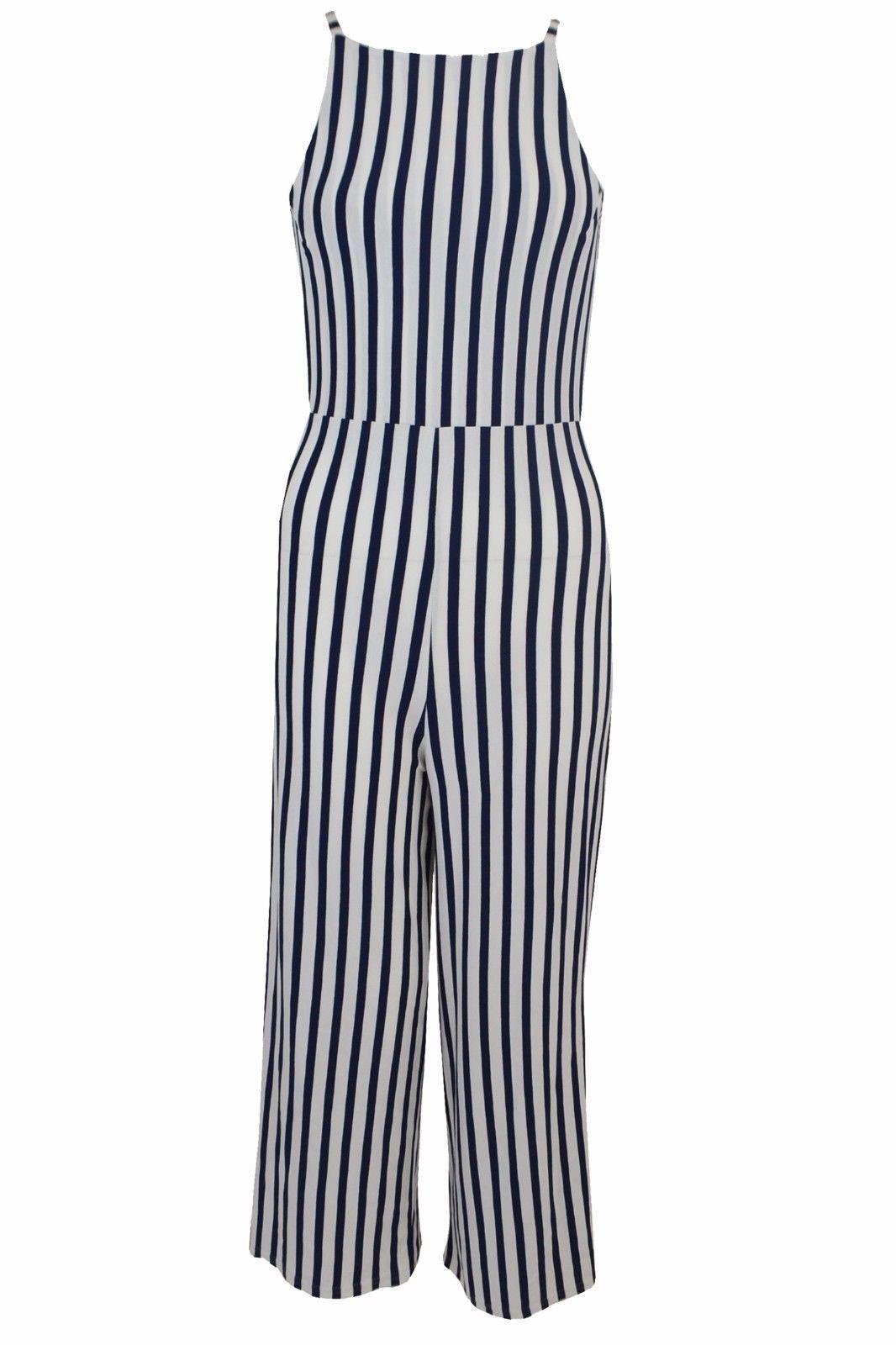ce884c891b5 S l1600. S l1600. Previous. Women Ladies Strappy tie back culotte jumpsuit  Stripe Size 6-14 UK
