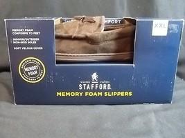 Mens Memory Foam Moccasin Slipper XXL 13 to 14 Brown Stafford New - $26.78 CAD