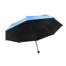 umbrella Anti-UV Rain Sun Umbrella Sunshade Sky Clouds print Inside Black - $16.99