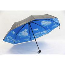umbrella Anti-UV Rain Sun Umbrella Sunshade Sky Clouds print outside Black - $16.99