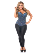 Daisy Corsets Top Drawer Elegant Blue Embroidered Steel Boned Corset  - $110.00