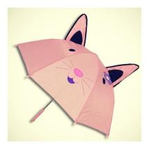 Cute Animal Umbrella For Children Kids ears straight handle   Pink Cat - $17.99