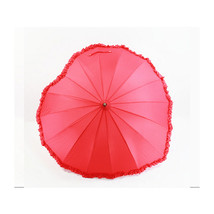Fiber lace heart-shaped creative umbrella sunshade umbrella straight sha... - $26.99