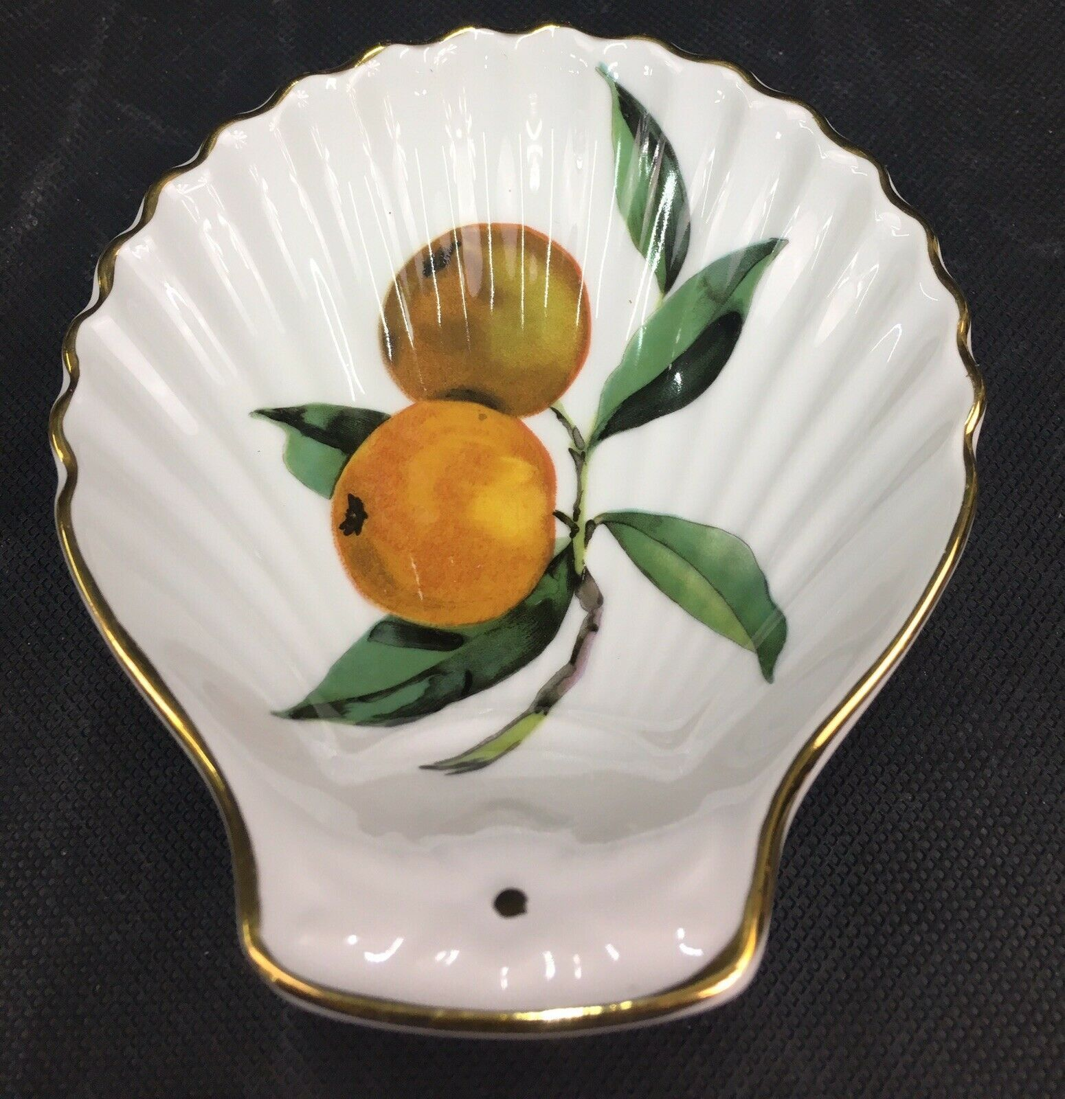 """Royal Worcester """"Evesham"""" Shell Shaped Spoon Rest/ Small Dish Shape #52 Size #3"""