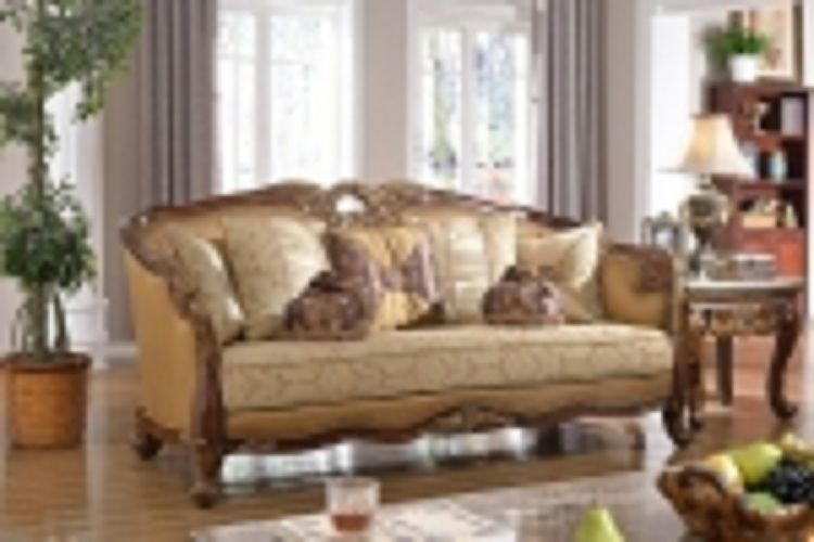 Meridian 623 Loretto Living Room Set 2pcs in Antique Brown Traditional Style