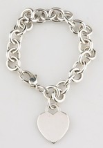 Tiffany & Co. Sterling Silver Blank Heart Tag Charm Bracelet Retails $285 - $198.00