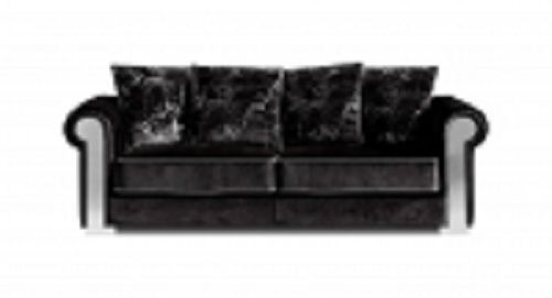 Meridian 627 Electra Living Room Sofa in Black Grey Piping Contemporary Style