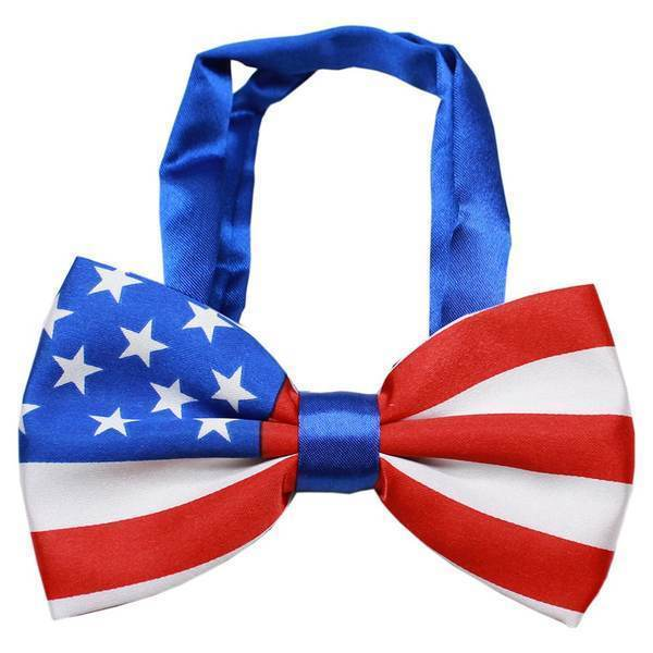 American Flag Big Dog Bow Tie FOR DOGS Patriotic America USA July 4th Pet Puppy