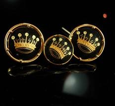 King & Queen Wedding Cufflinks Vintage Crown Tuxedo Designer gold damascene jewe - $185.00