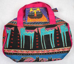 "Laurel Burch Small Zip Top Barrel Tote Colorful Horse Design 9"" x 7"" NWT - $9.49"