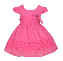New Baby Girls Cotton Party Dress in Hot Pink Yellow Ivory 6 9 12 18 24 ... - $13.21