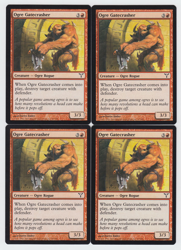 Ogre Gatecrasher x 4, LP, Dissension, Common Red, Magic the Gathering