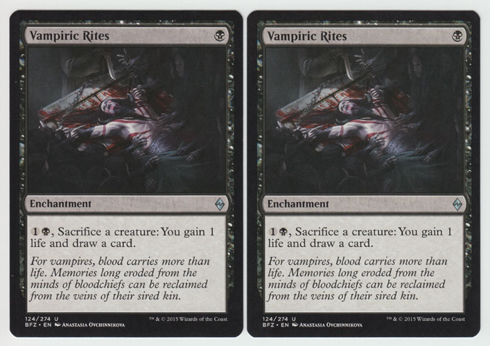 Vampiric Rites x 2, NM, Battle for Zendikar, Uncommon Black, Magic the Gathering
