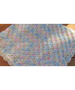 Soft Crochet Baby Blanket, Multi-coloured - Handmade - $71.65 CAD