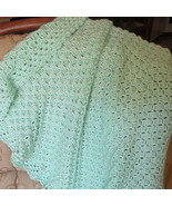 Soft Crochet Baby Blanket, Mint Green - Handmade - $71.65 CAD