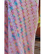 Crochet Striped Baby Blanket, Pink with Blue Accents - Handmade - $170.49 CAD