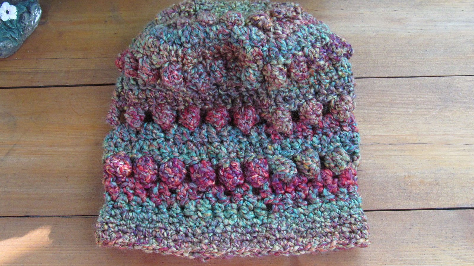 Crochet Hat, Green/Purple Mix - Handmade