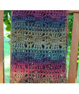 Crochet Scarf, Green and Purple Tones - Handmade - $37.48 CAD