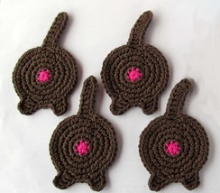 Cat Butt Coasters, Set of 4, Solid Brown - Hand... - $16.55 CAD
