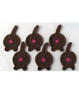 Cat Butt Coasters, Set of 6, Solid Brown - Handmade Crochet - $32.94 CAD