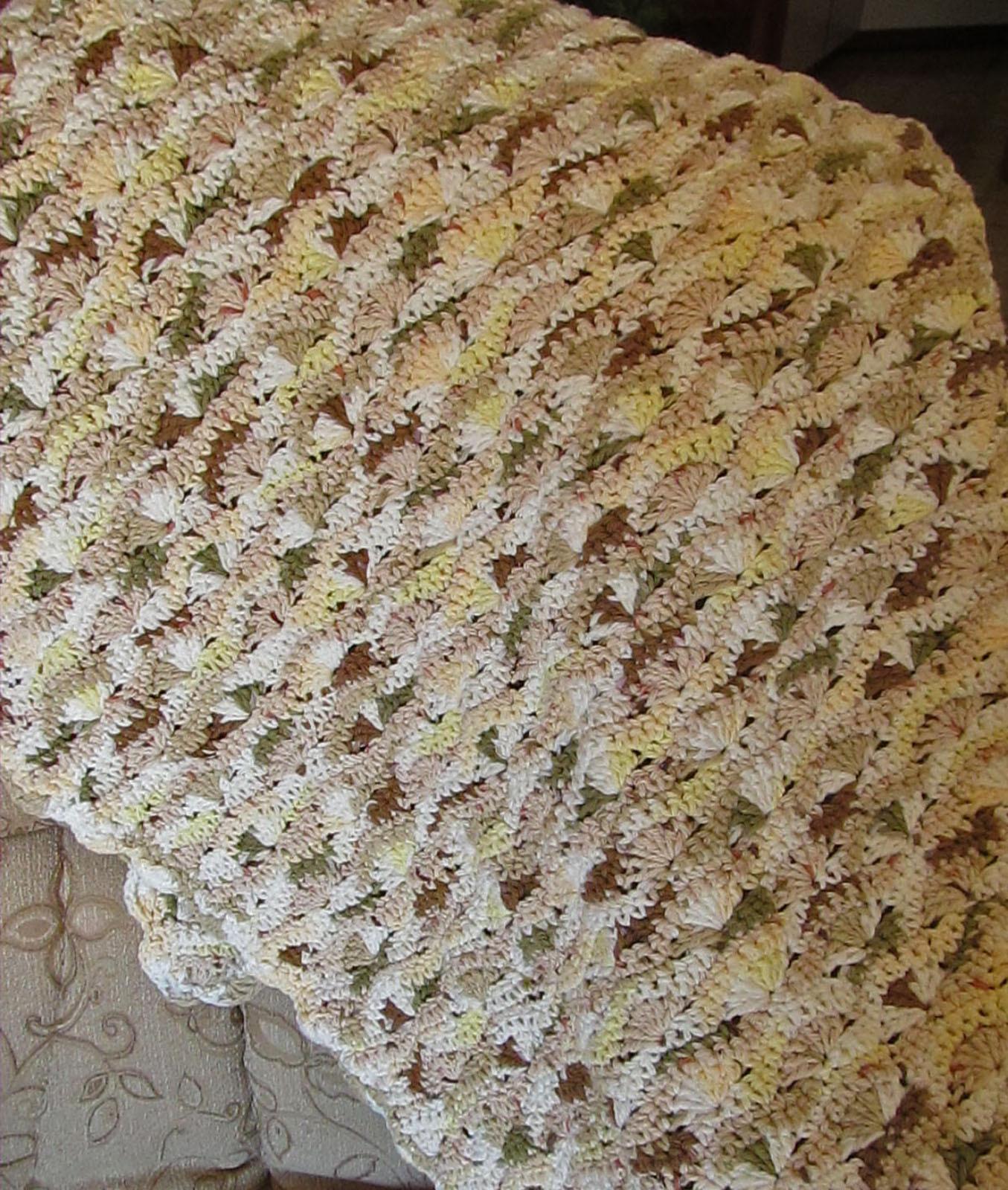 Crochet Cotton Baby Blanket, Beige Tones - Handmade