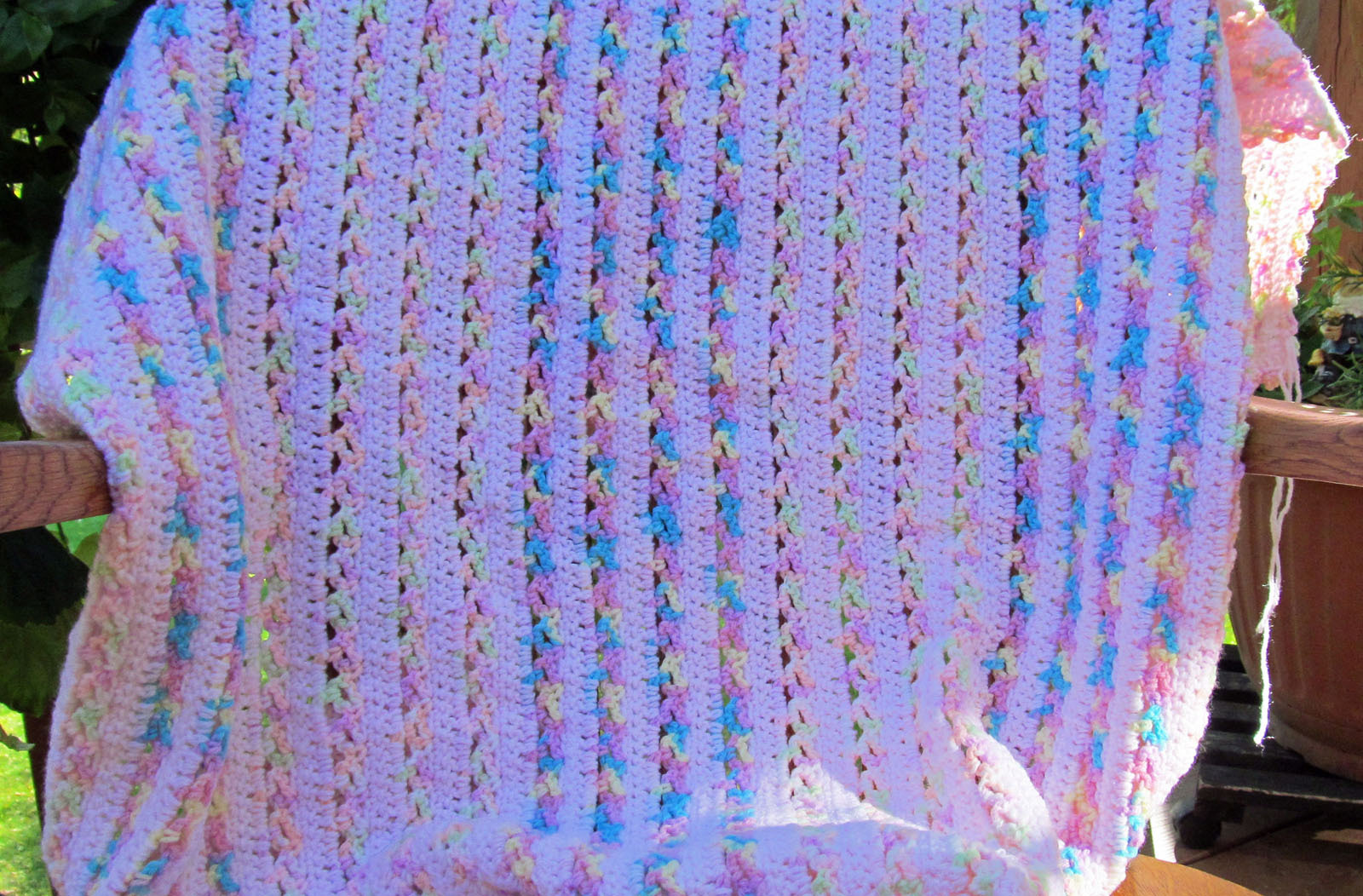 Crochet Striped Baby Blanket, Pink with Blue Accents - Handmade