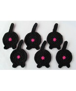 Cat Butt Coasters, Set of 6, Black - Handmade Crochet - $32.94 CAD