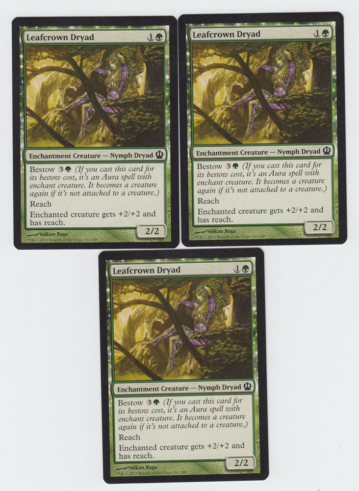 Leafcrown Dryad x 3, NM, Theros, Common Green, Magic the Gathering