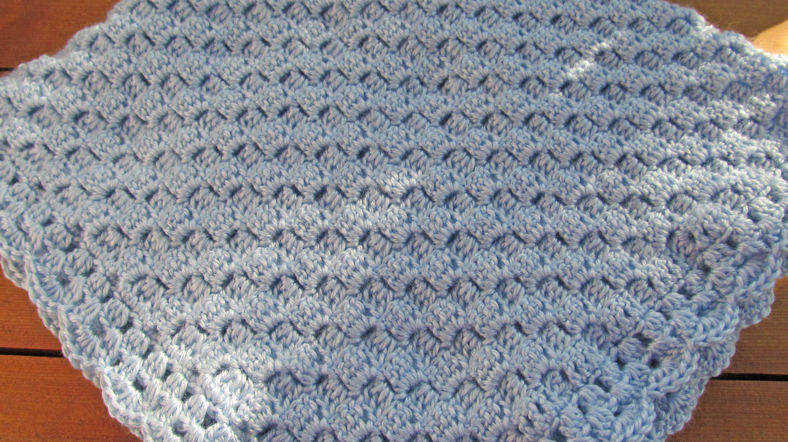 Soft Crochet Baby Blanket, Light Blue - Handmade