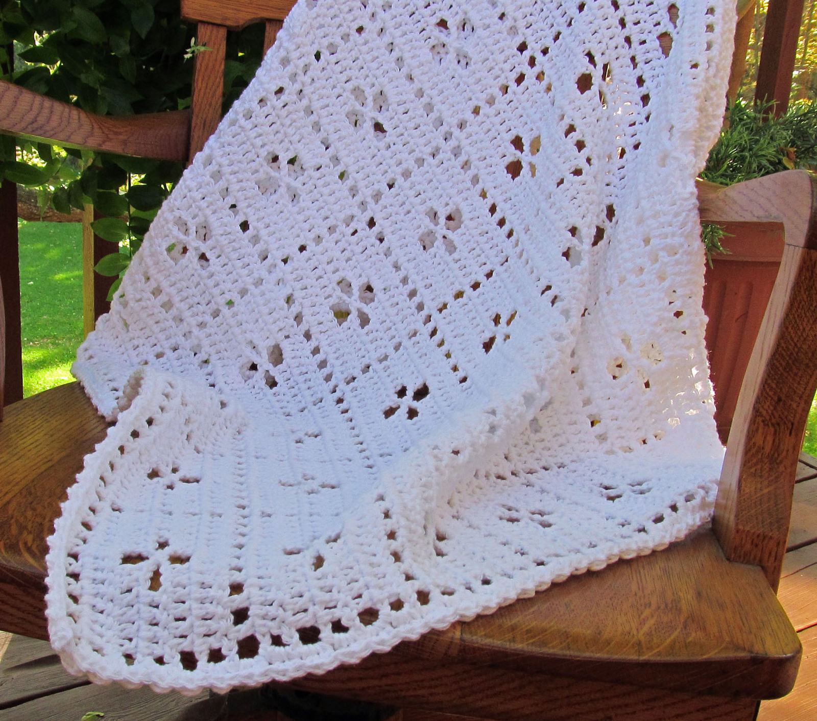 Crochet Cotton Midwife Baby Blanket, White - Handmade