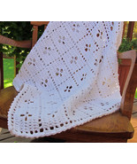 Crochet Cotton Midwife Baby Blanket, White - Handmade - $101.30 CAD