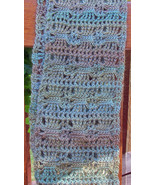 Crochet Scarf, Pale Blue and Purple Tones - Handmade - $37.48 CAD