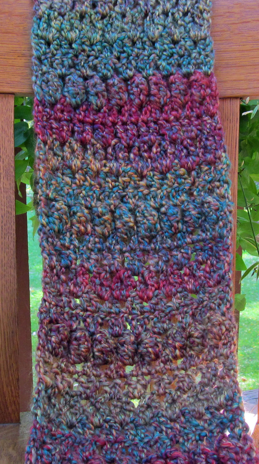 Crochet Scarf, Green/Purple Mix - Handmade