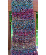Crochet Scarf, Green/Purple Mix - Handmade - $33.40 CAD
