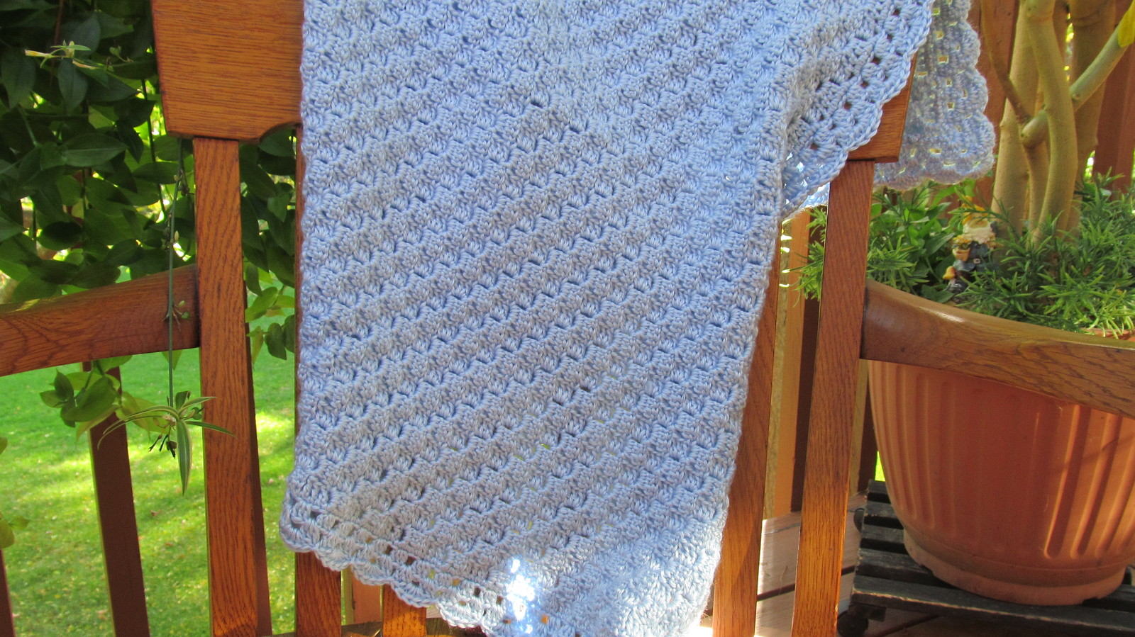 Soft Crochet Baby Blanket, Light Blue - Handmade