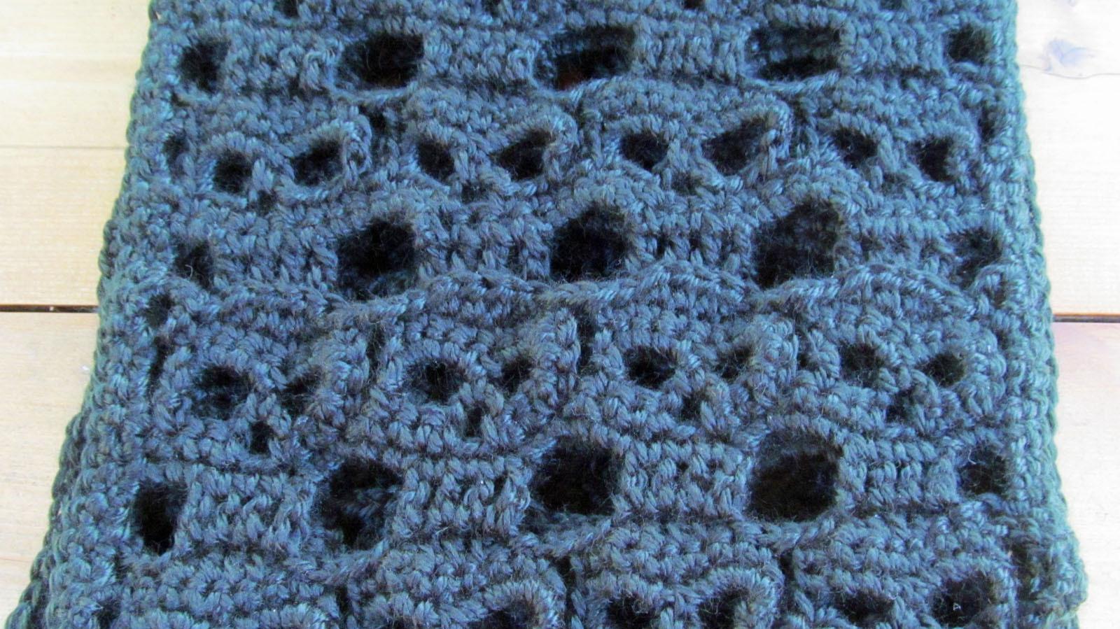 Crochet Scarf, Black Repeating Skulls - Handmade