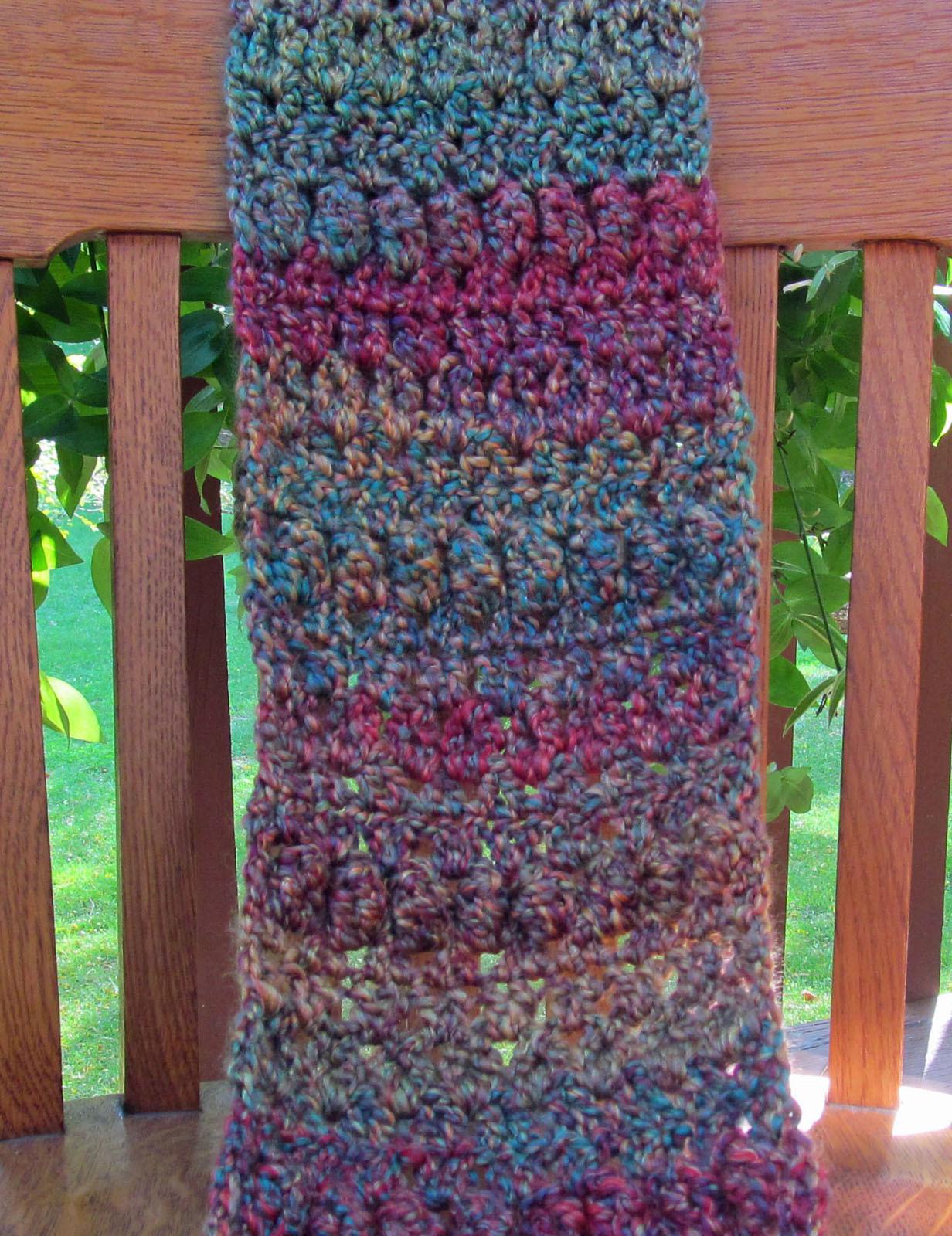 Crochet Scarf, Green/Purple Mix - Handmade